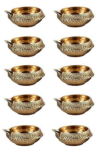 KUBER DIYA. Pure Virgin Brass Diwali Puja Diya Set of 10 piece Indian Pooja Oil Lamp dia. 2.5 Inch Deepawali Diya / Oil Lamp / CandleTea Light Holder / Diwali Decoration / Christmas - Home Decor Pooja