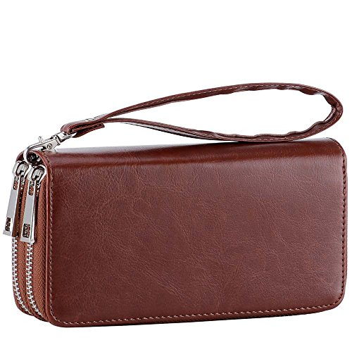 with Wristlet and Phone Pocket Long for Double With XeYOU Card Zipper Strap Clutch Card Coin Wallet Purse Cash Holder Around Brown Coin Smart qA1Uxgaz