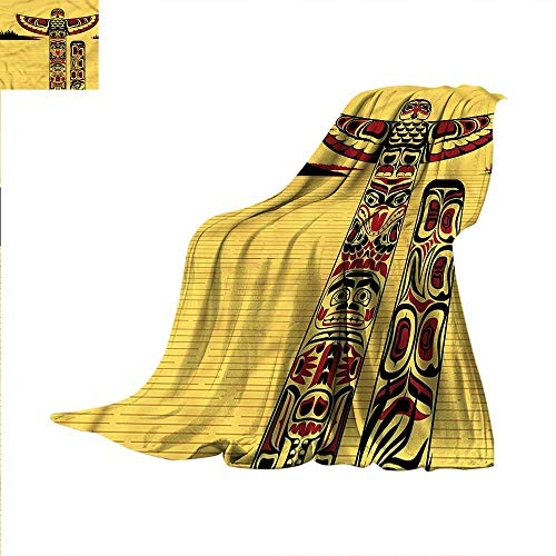 - Native American Digital Printing Blanket Totem Pole Retro Summer Quilt Comforter 60
