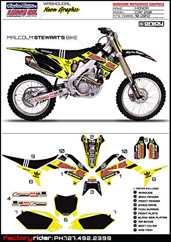 - Enjoy MFG 2010-2013 CRF 250 NEON Troy Lee Designs Lucas Oil Graphics Kit and Seat Cover BUNDLE