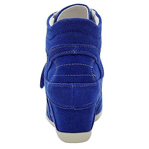 Scarpe Cuneo Cima Fibbia Lacci Sneaker Lavoro In Blu Zeppa Reale Rismart Donna Informale TI6qSvTCn