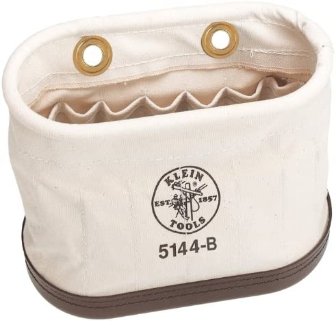 Klein Tools 5144B Aerial Basket Oval Bucket with 15 Interior Pockets, Made of No. 6 Canvas and Polypropylene Bottom