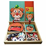 Wooden Magnetic Jigsaw Puzzles Toy, Toddler craft Toys Educational Travel Puzzle Games Double Sided Drawing Easel for Boys and Girls