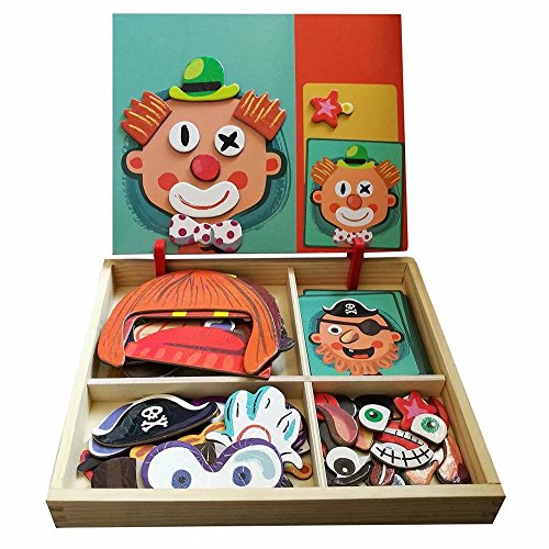 Wooden Magnetic Jigsaw Puzzles Toy, Toddler craft Toys Educational Travel Puzzle Games Double Sided Drawing Easel for Boys and Girls]()