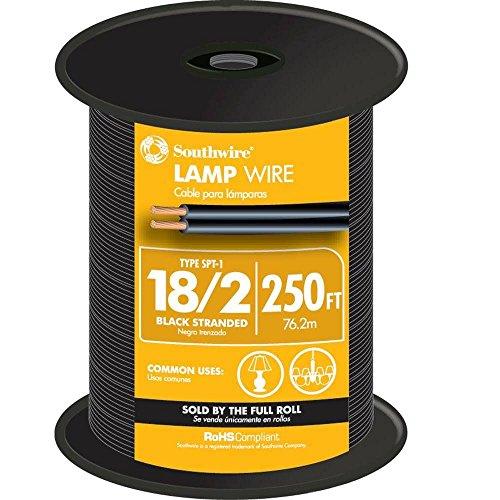 Southwire 49910344 250' Black 18 Gauge 2 Wire Lampwire