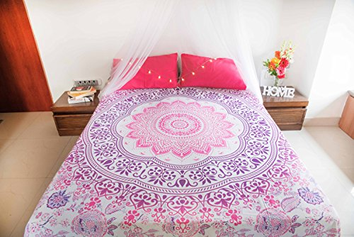 Champagne Mandala Tapestry Bedspread with Pillow Covers, Bohemian Ombre Tapestry Wall Hanging, Picnic Blanket or Hippie Beach Throw, Indian Bedding Set for Bedroom, Pink Purple Full Size Boho Spread (Tablecloths Round Living Space)