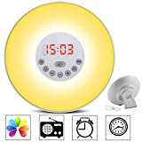 GRDE Wake Up Light Alarm Clock Colored Sunrise Simulation LED Bedside Lamp Night Light with FM Radio, Snooze and Touch Control