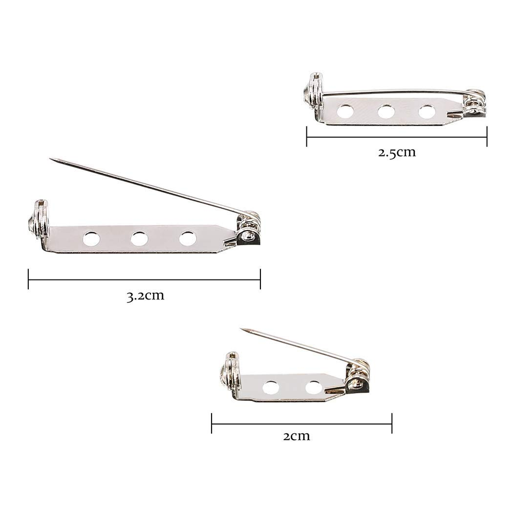 300 Piezas Broche Pin 20mm Pasadores de Barra 25mm 32mm Pasadores de Seguridad de Plata para DIY Etiqueta de Nombre Pin de Boda Artesan/ía Fabricaci/ón de Joyas