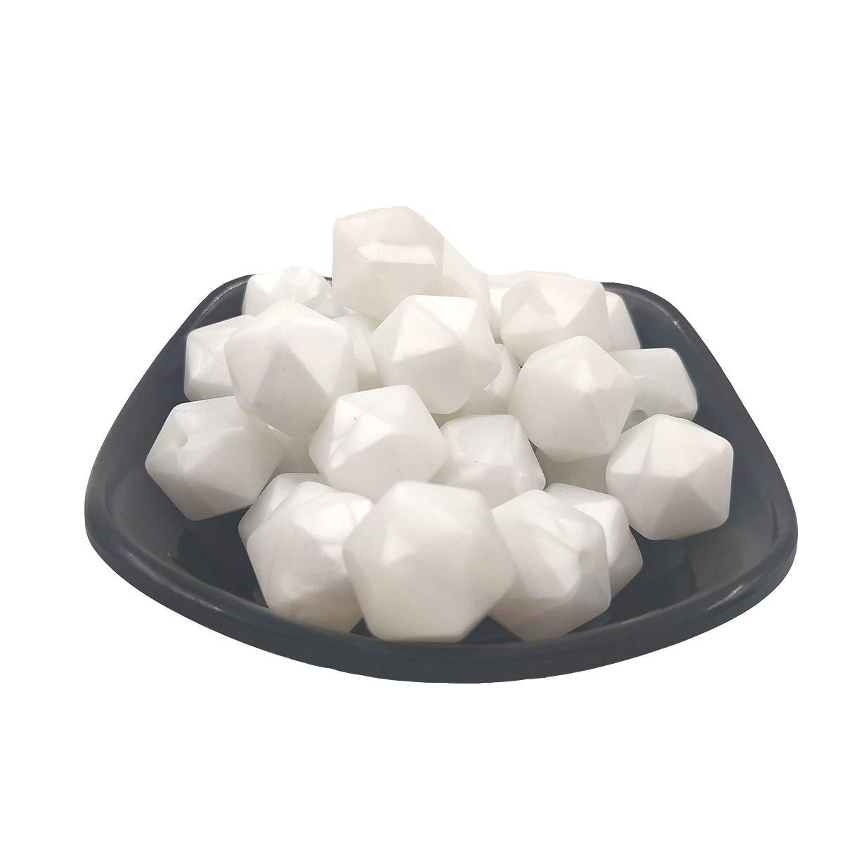 30pcs 17mm Silicone Polygon Pearl Beads Silicone Geometric Icosahedron Shape Beads Necklace Bangle DIY Beading Accessory (Pearl White)