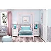 DHP Modern Metal Canopy Bed, Pink Metal - Twin
