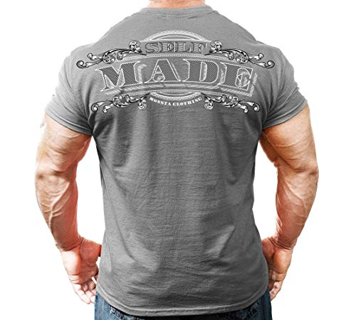 Monsta Clothing Co. Self Made Short Sleeve T-Shirt (Grey, Large)
