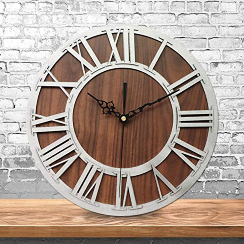 Wffo European Premium Retro Wooden Roman Three-Dimensional Wooden Gear Clock ♚♚ Digital Craft Wall Clock Living Room Decorative (Silver)