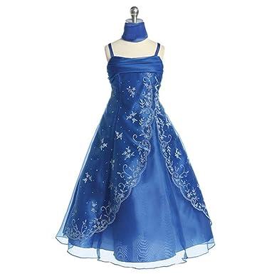 04b6c229d54c Amazon.com: Girls Royal Blue Beaded Sleeveless Pageant Flower Girl ...