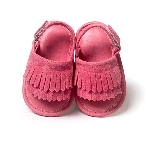 Bobora Rose Filles Anti 18mois Rouge Bébé Cuir Sandales dérapant Pu 0 Tassel Fille En Chaussures fZf4q1