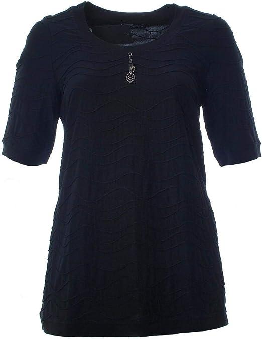 Sempre piu Lagenlook Pullunder Shirt Mode Schwarz//Vanille