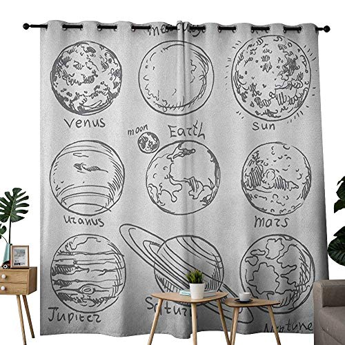 NUOMANAN Blackout Curtains for Bedroom Doodle,Planets of Solar System Sun Mercury Earth Moon Mars Neptune Saturn Jupiter Science, Black White,Darkening Grommet Window Curtain-Set of 2 -