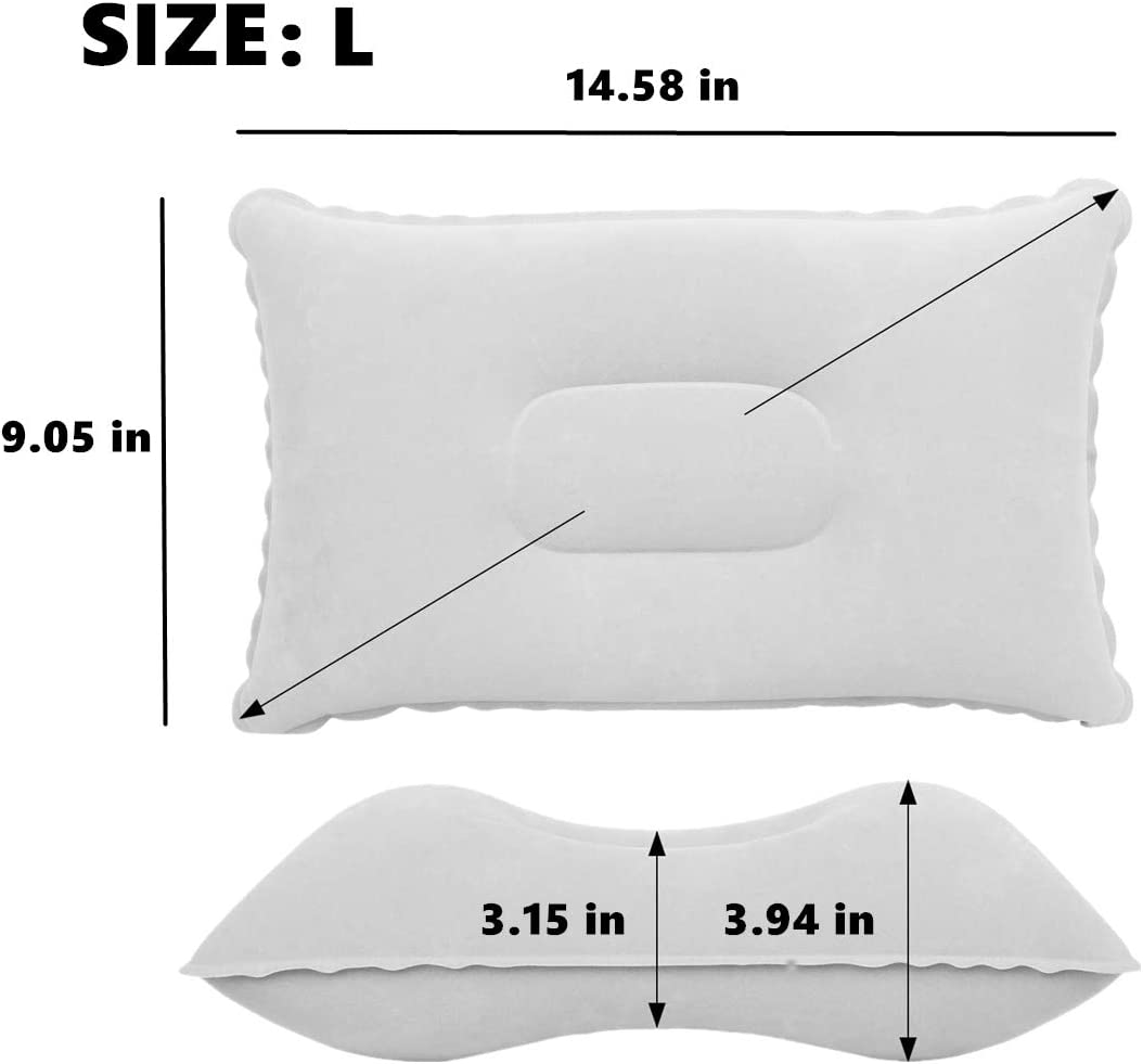 Chchmu Inflatable Camping Pillow for Travel Ultralight Compact Pillows Neck /& Lumbar Support While Sleeping Hiking Backpacking Flocked Velvet 2 Pack Compressible