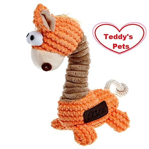 Elite Cute Orange Giraffe Stuffed Teddy's Pets Dog Chew Squeak Toy Toy for Small Medium Dog from Elite
