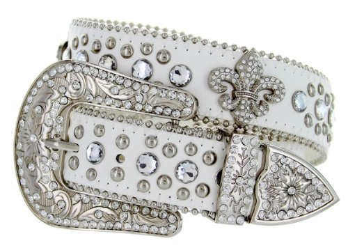 Belt Lis De Buckle Fleur White - Western Cowgirl Fleur De Lis Bling Belt with Rhinestone Studded Buckle and Strap (40, White)
