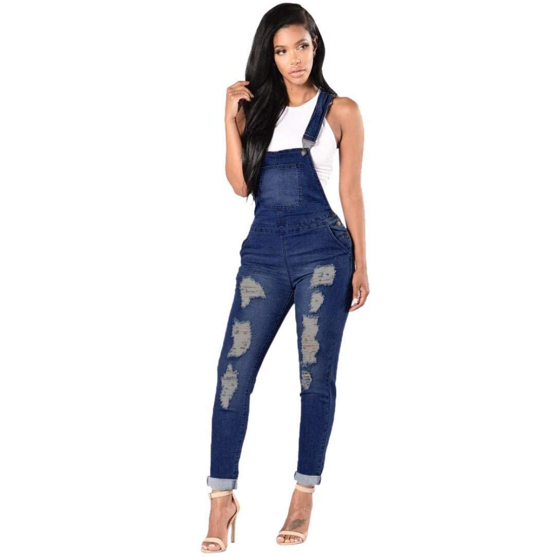 OWMEOT Womens Denim Ripped Bib Overalls Jumpsuit Casual Skinny Jeans Pants (Deep Blue, S)