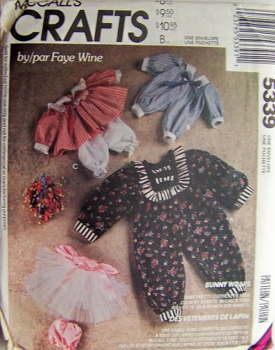 McCall's Crafts Bunny Wraps, Clothes for Country Rabbit Dolls Sewing Pattern #5339