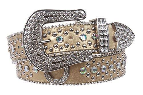 MONIQUE Women Rhinestone Silver Circle Studs Horseshoe 100% Leather 1.5'' Belt,Gold M/L - 35 Gold Rhinestone Horseshoes