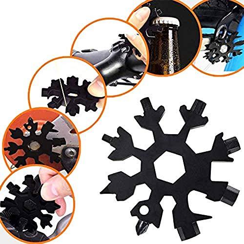 Schneeflocken Multifunktionswerkzeug 18-in-1 Edelstahl Multitool mit Aufbewahrungsbox und Schlüsselring für Outdoor (Schwarz)