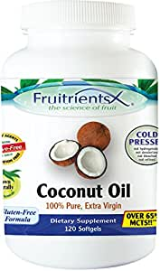 Fruitrients - Coconut Oil - 100% Pure Extra Virgin Coconut Oil - 120 Softgels
