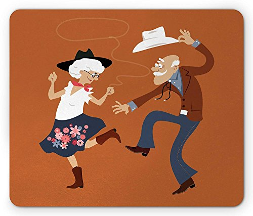 Country Mouse Pad, Senior Old Couple with Western Costumes Dancing Partying Square Dance Contradance, Standard Size Rectangle Non-Slip Rubber Mousepad, Multicolor 9.8 X 11.8 INCH]()
