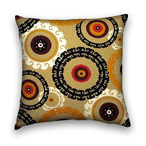 Gold Red Black Cotton Suzani Decorative Throw Pillow Cover