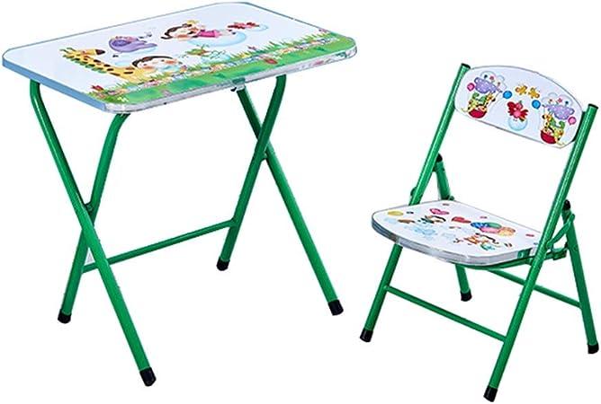ZH Ensemble Table et 1 Chaise pour Enfants, Table à Manger