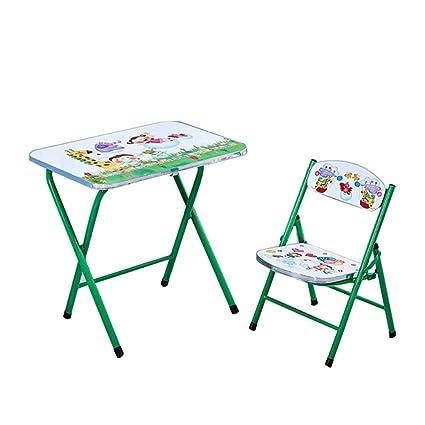 ZH Juegos de Mesa y 1 Silla para niños, Mesa Plegable para ...