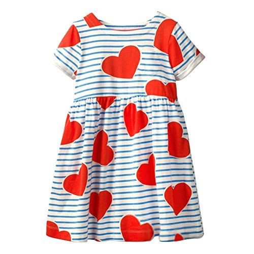 Cute Baby Girl Spring Summer Red Love Flower Stripe A Line Wedding Cotton Party Birthday ()