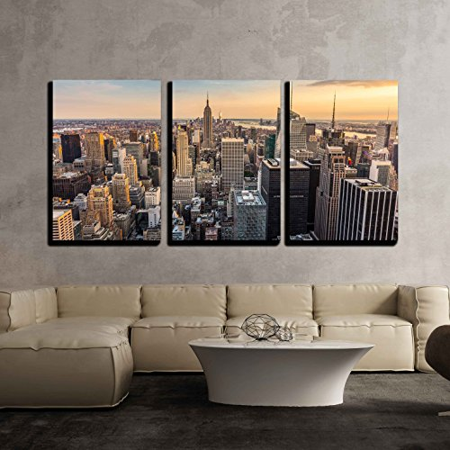 Wall26   3 Piece Canvas Wall Art   New York City Midtown Skyline   Modern Home Decor Stretched And Framed Ready To Hang   24 X36 X3 Panels