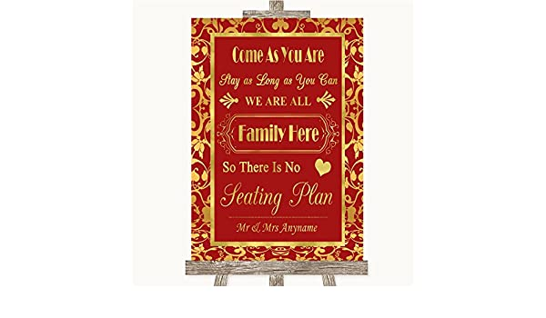 Red & Gold - Señal de boda con texto en inglés All Family No ...