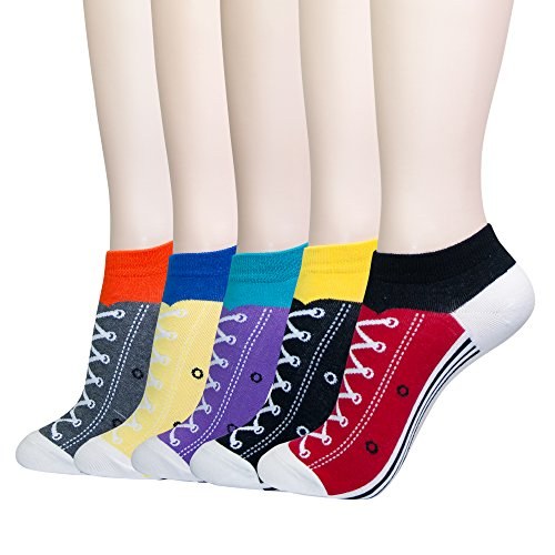 KONY Women's 5 Pack Lightweight Cotton (86%) Funny Novelty No Show Socks, Colorful Silly Sneaker Pattern - One Size 6-10 (Golf Gift Idea)