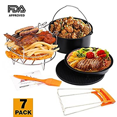 Deep Fryers Universal Air Fryer Accessories Including Cake Barrel,Baking Dish Pan,Grill,Pot Pad, Pot Rack with Silicone Mat by Bellagione