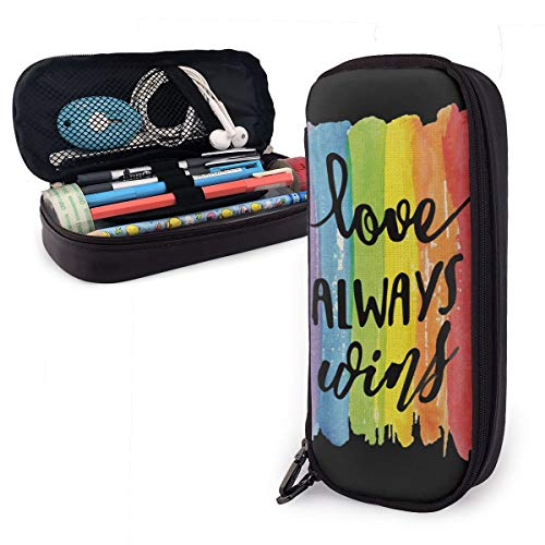 Pen Pencil Case PU Leather Love Wins Zippered Pouch for Teens Storage Study Stationery Bag Holder College Office…