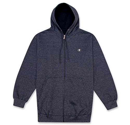 Champion Men's Big & Tall Full-Zip Fleece Hooded Jacket Navy MARL 6X 6x Full Zip Hooded Fleece