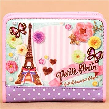 Cartera kawaii rosa claro torre Eiffel París flores