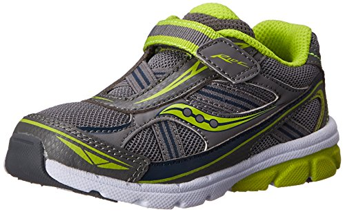 Saucony Boys Baby Ride Sneaker ,Grey/Lime,7 M US Toddler
