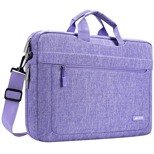 MOSISO Laptop Shoulder Bag Compatible with 17-17.3 inch MacBook/Dell/HP/Lenovo/Acer/Asus/Samsung/Sony with Adjustable Depth at Bottom, Polyester Messenger Briefcase Carrying Handbag Sleeve, Purple