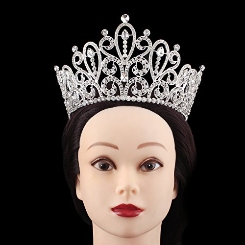 Luxury Large Queen Crown Wedding Crowns for Brides Prom Party Rhinestone Tiara Silver Women Headpiece (Silver-White)
