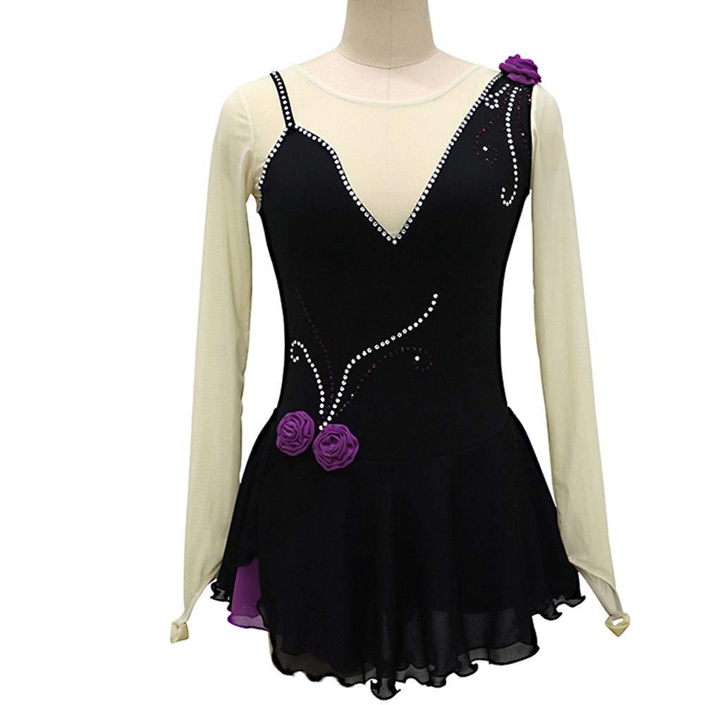 フィギュアスケートドレス女性女子アイススケートのパフォーマンス競争コスチュームスパンデックスラインストーン手作り黒スケート長袖を着用してください ブラック Child12