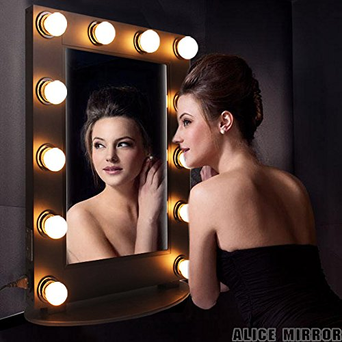 Alice Lighted Tabletop Hollywood Makeup Vanity Mirror with LED Bulb & Dimmer (Gloss Black) by Alice