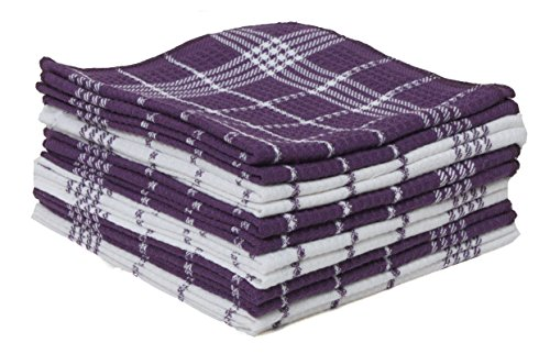 Checkered Absorbent Durable Cleaning Cloths Eggplant