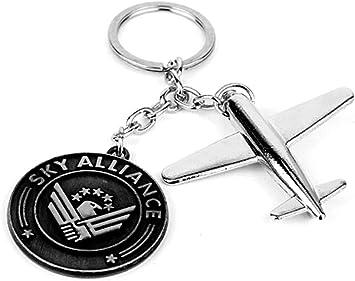 Porte-clés avion de ligne en acier argenté chromé.