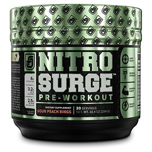NITROSURGE Pre Workout Supplement - Endless Energy, Instant Strength Gains, Clear Focus, Intense Pumps - Nitric Oxide Booster & Powerful Preworkout Energy Powder - 30 Servings, Sour Peach Rings