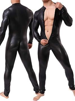 GYH Hombre Sexy Wet Look Mono De Cuero Cosplay Club Wear ...