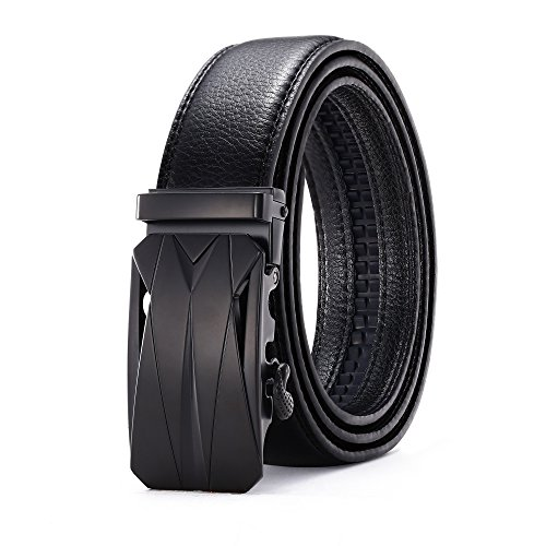 Black Thin Buckles - Greach Man Men's Leather Ratchet Dress Belt With Automatic Buckle 1.38